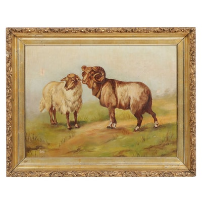 Lynda Smith Oil Painting of Landscape with Rams