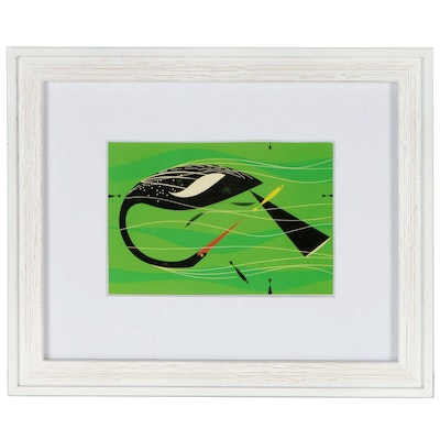 "Offset Lithograph after Charley Harper ""Water Turkey (Anhinga)"""