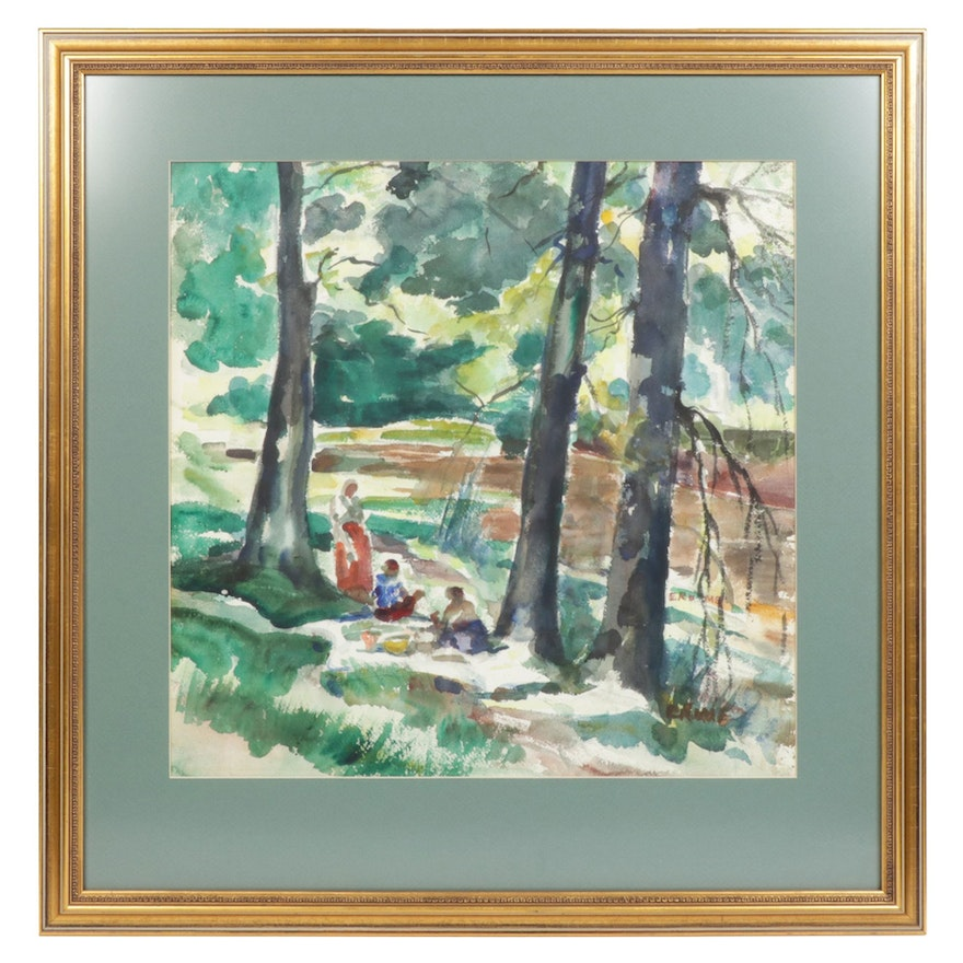 """Elinor Rome """"The Picnic"""" Watercolor Painting, 1950s"""