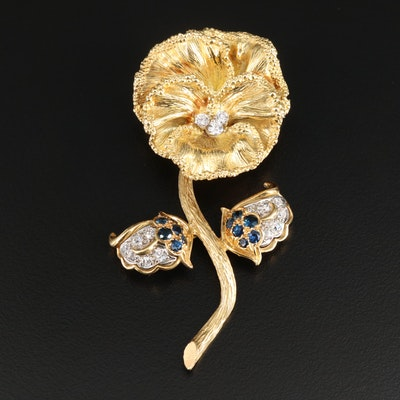 Vintage 18K Yellow Gold Diamond and Sapphire Flower Brooch
