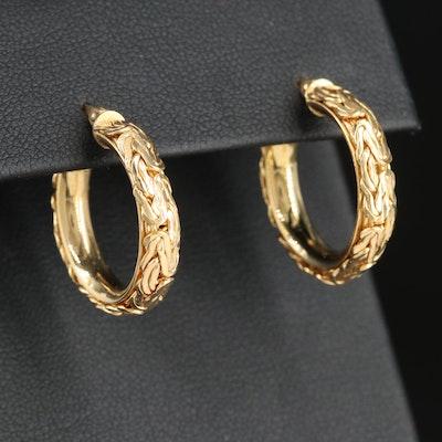 14K Yellow Gold Byzantine Hoop Earrings