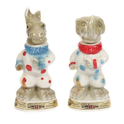 """Jim Beam """"Beam's Trophy"""" Political Party Porcelain Bourbon Bottles, 1960s"""