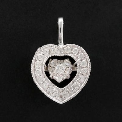 """10K White Gold Diamond Heart """"Flutter"""" Pendant"""