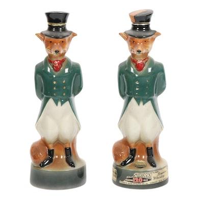 "Jim Beam ""Beam's Trophy"" Gentleman Fox Porcelain Bourbon Bottles, 1960s"