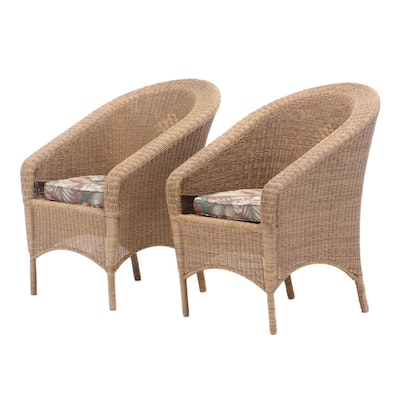 Pair of Wicker Arm Chairs, Late 20th Century