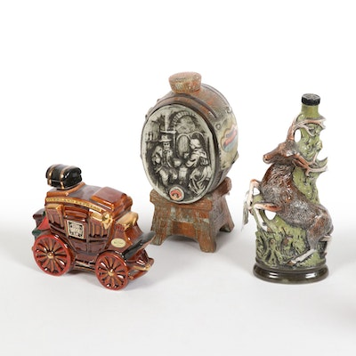 Ceramic and Glass Liquor and Wine Vessels, Mid-20th Century