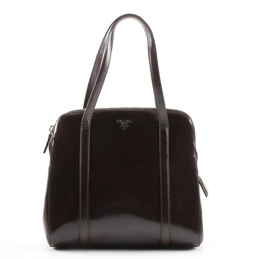 Prada Dark Brown Glazed Leather Domed Bag