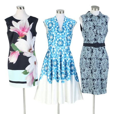 Ted Baker and Badgley Mischka Floral Print Sleeveless Dresses