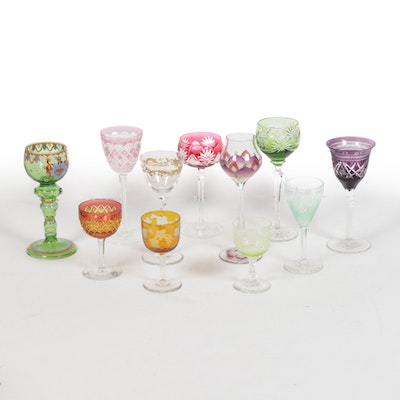 Vaseline Glass, Hand Painted  and Bohemian Stemware, Mid-20th Century