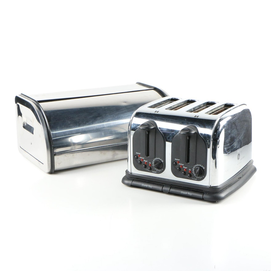 GE Classic Four-Slice Toaster and Countertop Bread Box