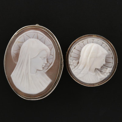 Vintage 800 and 900 Silver Religious Theme Carved Shell Cameo Converter Brooches
