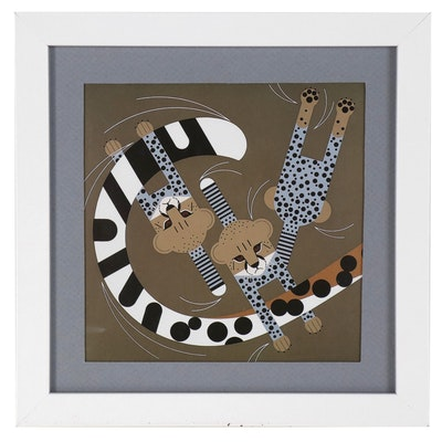 """Offset Lithograph after Charley Harper """"Convivial Pursuit"""""""