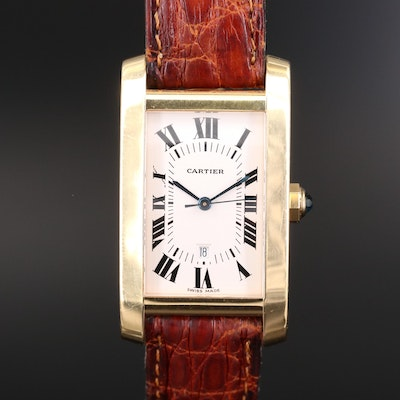 Cartier Tank Américaine Mid-Size 18K Gold Automatic Wristwatch