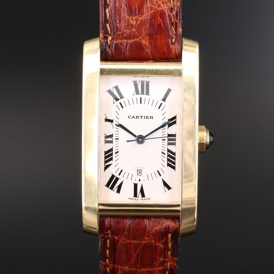 Cartier Tank Américaine Mid-Size 18K Gold Automatic Wristwatch