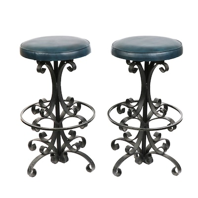 Wrought Iron Vinyl Upholstered Counter Top Stools, Mid-20th Century