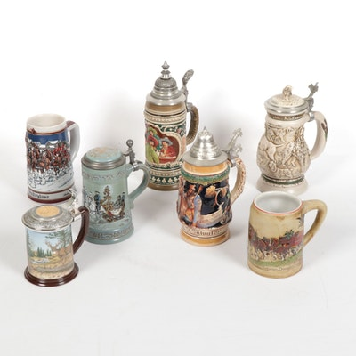 Budweiser, King, Avon and Other Ceramic and Pewter Steins