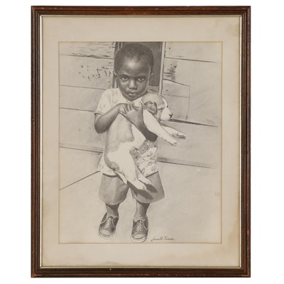 Jesus E. Torres Graphite Drawing of Young Boy Holding Puppy