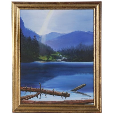 Marianne Kuhn Landscape Oil Painting of Lake Scene