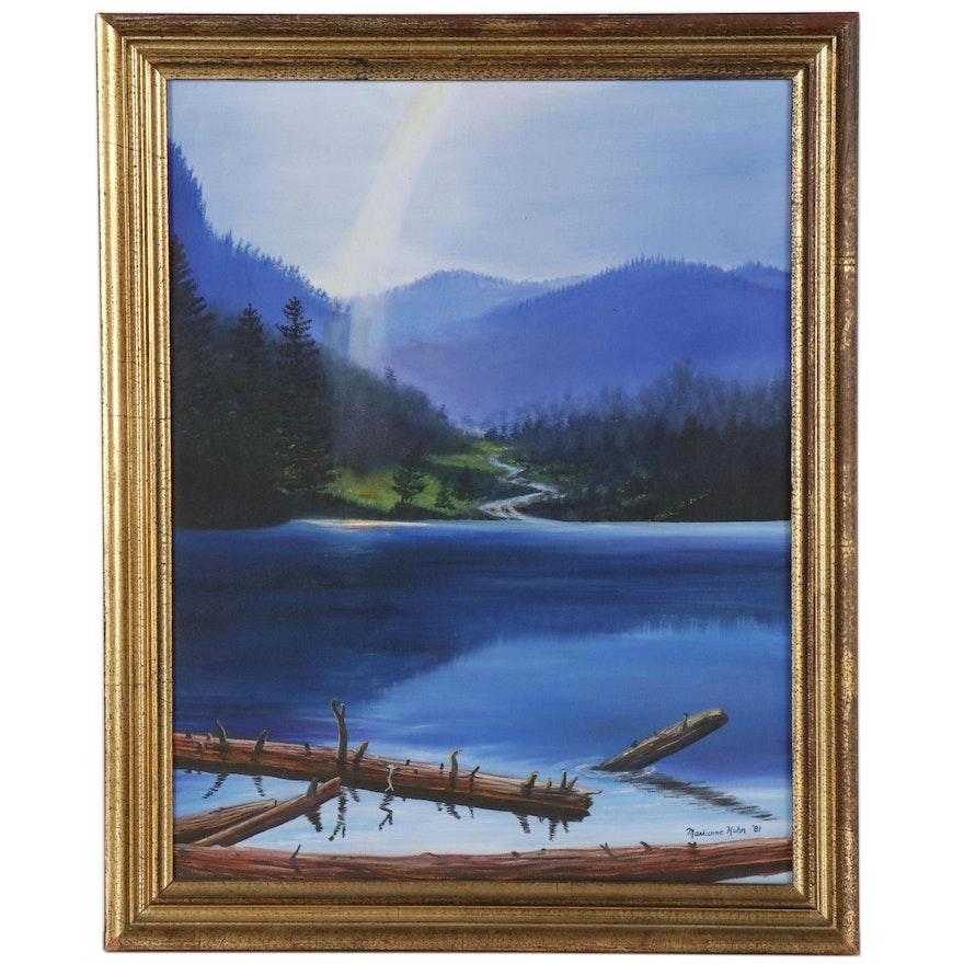 Marianne Kuhn Landscape Oil Painting of Lake Scene