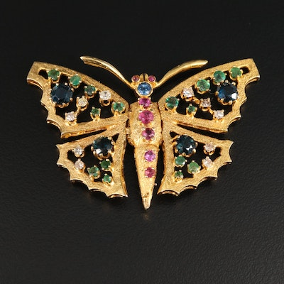 1960's 14K Yellow Gold Sapphire, Ruby, Emerald, and Diamond Butterfly Brooch
