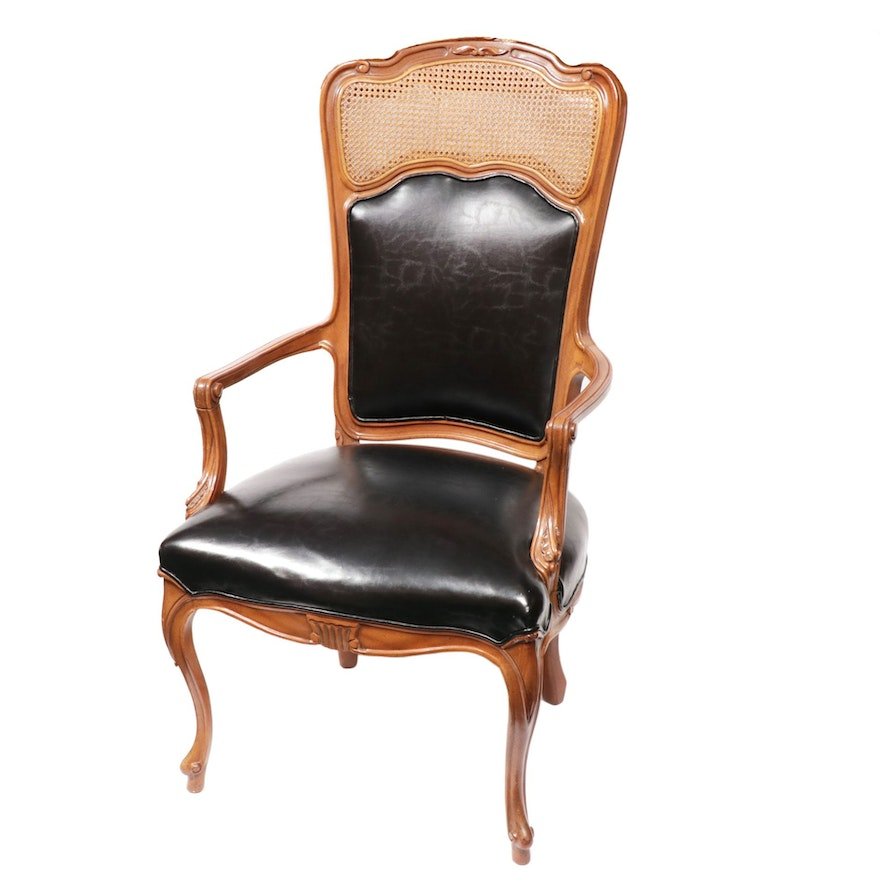 Louis XV Style Leather and Caned Back Fauteuil, Mid-20th C.