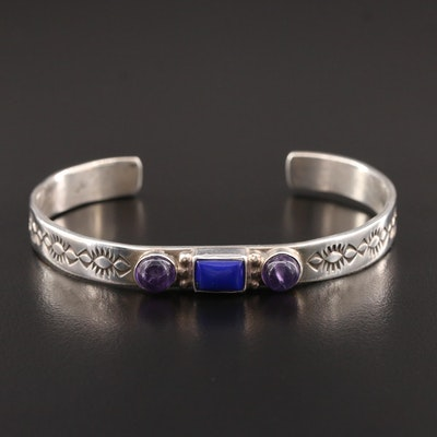 Role Jaque Navajo Diné Sterling Lapis Lazuli and Amethyst Cuff