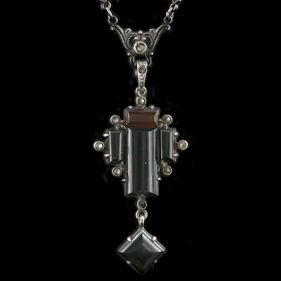 Art Deco Sterling Silver Black Onyx, Sardonyx and Marcasite Necklace