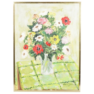 Carol Salome Acrylic Floral Bouquet Still Life Painting