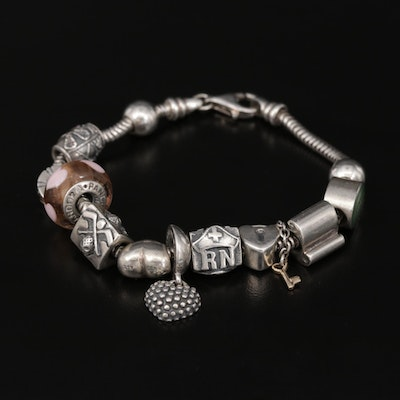 Sterling Charm Bracelet with Pandora and Zable Beads