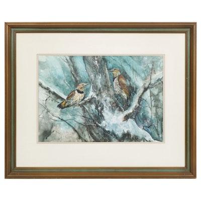 Gouache Painting of Northern Flicker Birds