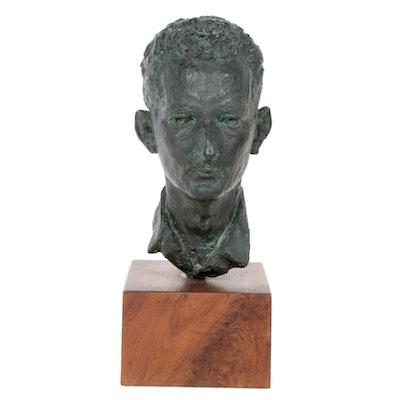 Cast Bronze Portrait Bust of a Man, Mid 20th Century