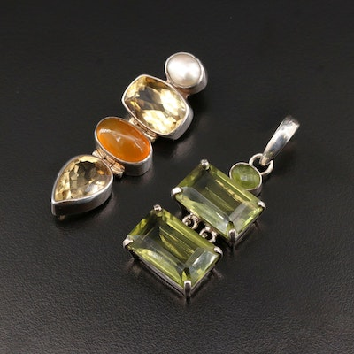 Sterling Silver Citrine, Cultured Pearl Pendants Featuring a Starborn Pendants