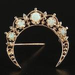 14K Yellow Gold Opal Crescent Moon Brooch