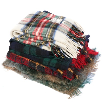 Vintage Wool and Mohair Blend Plaid Blankets