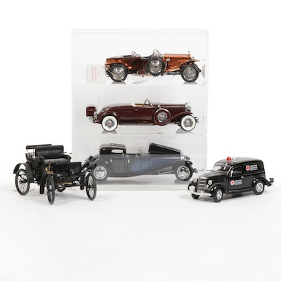 Franklin Mint and Crown Premiums Diecast Cars and Display Cases
