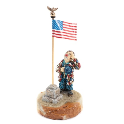 "Ron Lee ""Saluting the Flag"" Clown Figurine, Limited Edition"