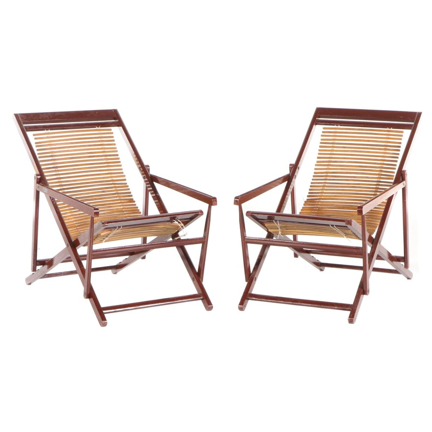 Vintage Chinese Folding Deck Chairs, Mid 20th Century