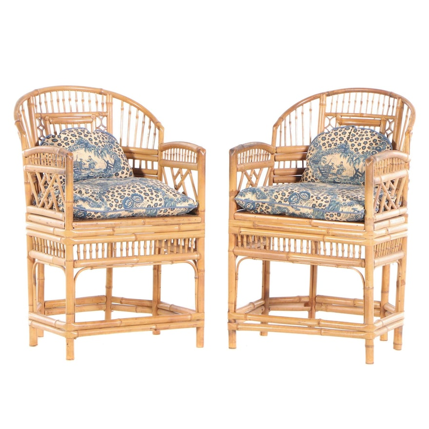 Charlotte Horstmann Limited Bamboo Arm Chairs, Pair