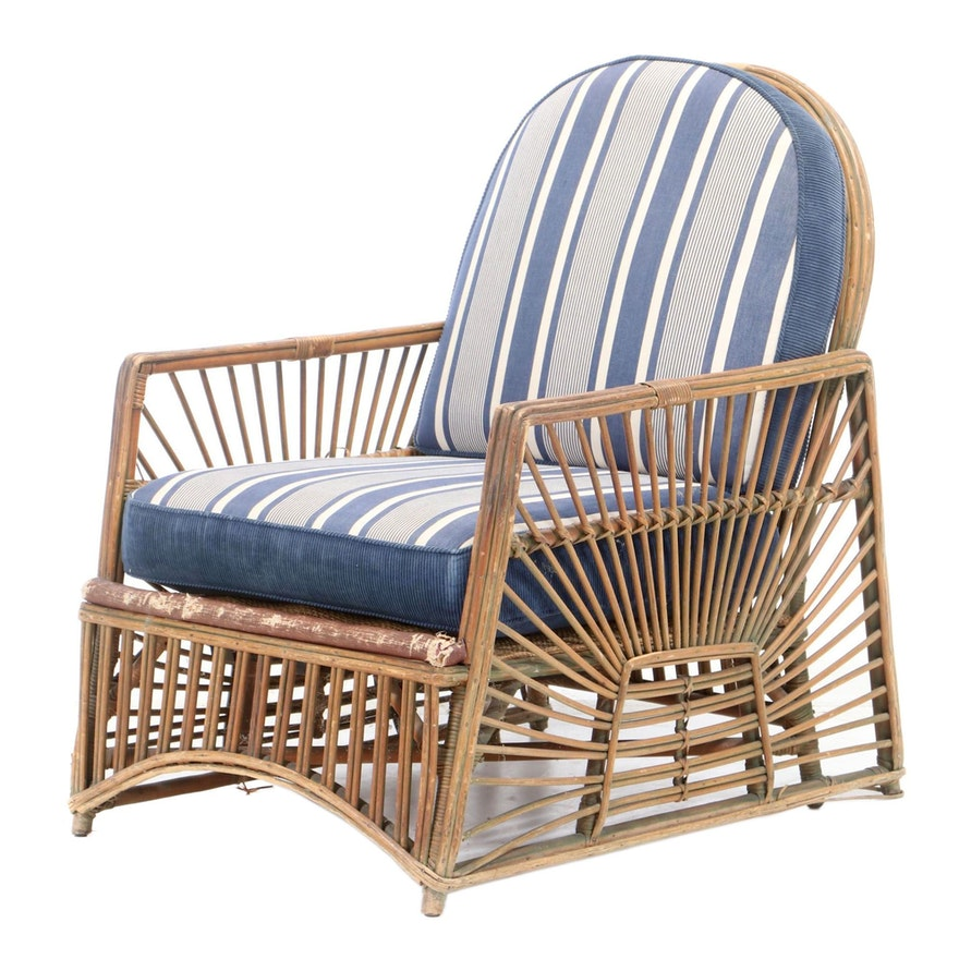 Wicker Lounge Chair with Custom-Upholstered Cushions, Early 20th Century