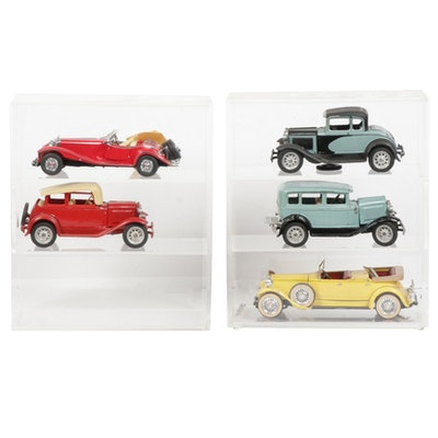 Hubley and Other Classic Toy Vehicles with Display Cases, Vintage