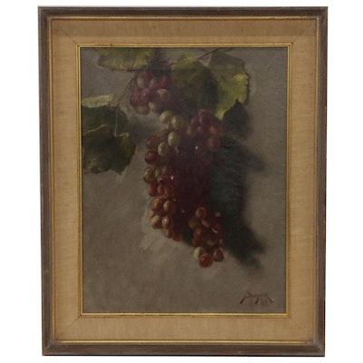 Oil Painting of Grapes on Vine, Late 19th Century