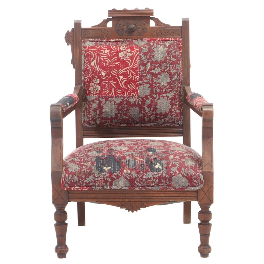 Victorian Patchwork-Upholstered Carved Walnut Parlor Chair, Late 19th Century