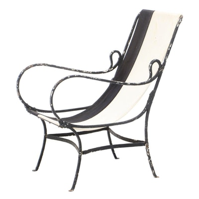 Painted Iron Sling-Seat Lounge Chair, Second Half 20th Century