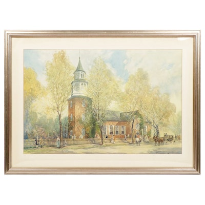 "Color Lithograph After J.C. Claghorn ""Old Bruton Church, Williamsburg, VA"""