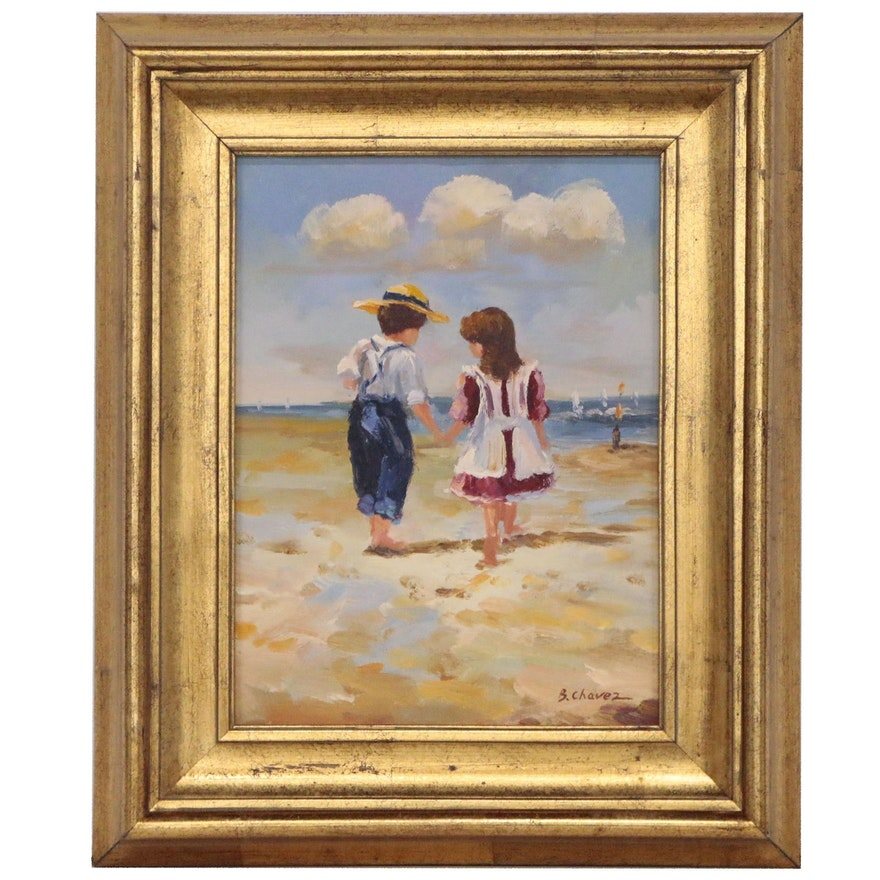 B. Chavez Oil Painting of Two Children at Beach