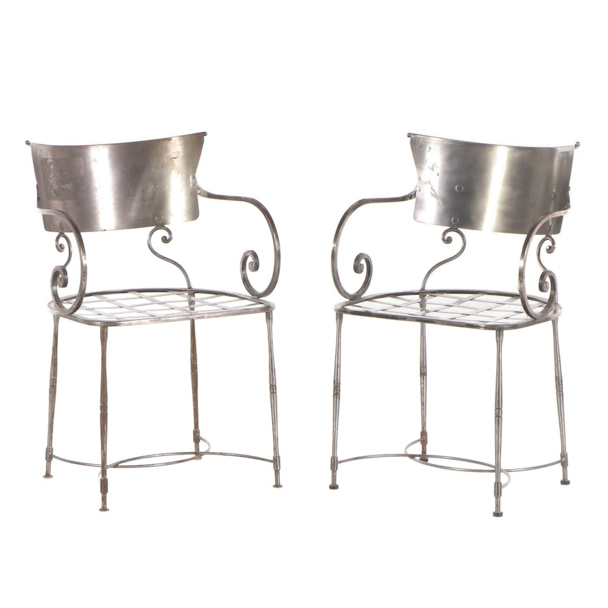 French Brushed Steel Arm Chairs, Mid 20th Century