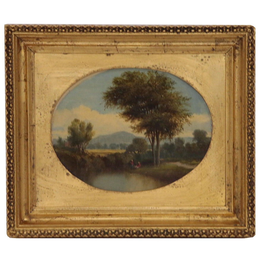 Landscape Oil Painting of River Scene with Fishermen