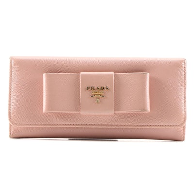 Prada Pink Saffiano Leather Continental Bow Wallet