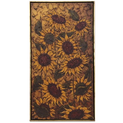 A. Norman Impasto Oil Painting of Sunflowers, Mid 20th Century