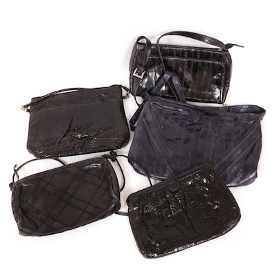 Palizzio and Other Black and Navy Eel Skin, Snakeskin and Leather Handbags